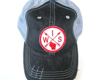 Distressed Trucker Hats - Wisconsin Red Arrow Compass on Gray hat