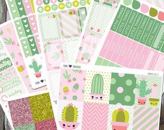 Summer Cactus Planner Sticker Set, Succulent Weekly Sticker Kit, for use in Erin Condren Life Planner™, Happy Planner, Bullet Journal