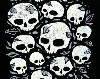 Skulls - GLOW in the DARK Screenprinted Art Print