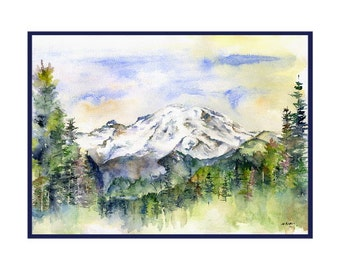 Watercolor Mount Mt. Rainier Note Cards, Notecards, Rainier Prints, Hiker Lovers, Stocking Stuffers, Gift Box, Mountain Cards