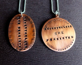 Nevertheless She Persisted Necklace, Elizabeth Warren Mitch McConnell Anti Donald Trump, Political Jewelry 2017, Feminist Necklace