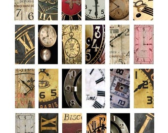 Passage of Time Domino - 1x2 Inch Images - Altered Art Digital Collage Sheet - Instant Download