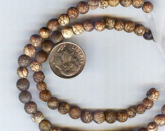 """5-6mm Distressed or Aged Tibetan Natural Old Agate Round Beads 8"""" 32pcs"""