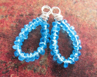 Faceted Paradise Blue Quartz Bead Drops in Sterling - 1 pair - 18mm in length