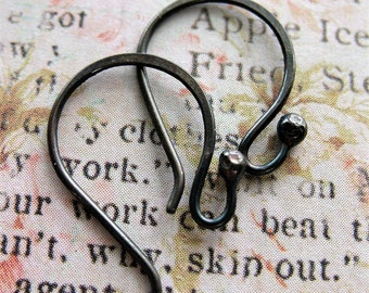 Blackened Sterling Silver Ball Tipped Ear Wires - 1 pair - 20mm in length - 20 gauge
