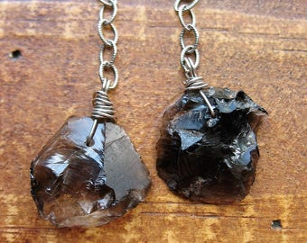 Hammered Smokey Quartz Shard Bead Charms in Antiqued Sterling Silver - 1.5 inches in length