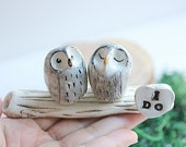 Rustic cake topper  - Clay owls - Rustic cake topper - Owl Cake Topper - Rustic Wedding - Woodland Wedding - Snow Owls cake topper