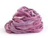 Handdyed recycled chiffon silk ribbon 10metres Blackcurrant Sorbet plum purple amethyst, textile arts, bouquet wrap, mixed media