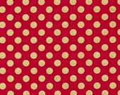 Thanksgiving Sale 10% Off REMNANT PIECE - Robert Kaufman Spot On Scarlet Red Gold Quilting Apparel Fabric