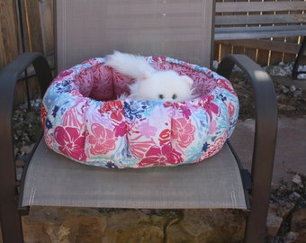 Cat Bed, Round Pet Bed, Indoor Cat Bed, Fabric Pet Bed, Pink Cat Bed, Handmade Pet Bed, Luxury Pet Bed, Small Dog Bed, Beds For Cats Pet Bed