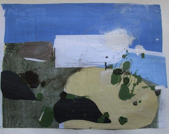 Glimpse, Original Abstract Collage Painting on Paper, Stooshinoff