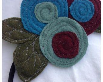 40% OFF- The Little Garden Bloom- Felted Wool Headband or Brooch-Triple Bloom