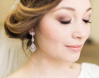 Crystal and Silver Art Deco Earrings, Abigail