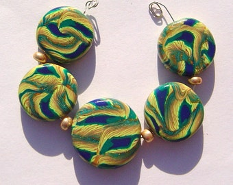 Green Gold Feathers Artisan Polymer Clay Bead Set with Focal and 4 Beads