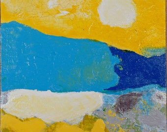 On The Surface Orginal Abstract Art Yellow Blue Grey