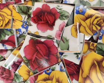 Mosaic Tiles Tesserae Broken Plates DIshes Art Supply Crafts Hand Cut Red Yellow Pink Roses Flowers 100