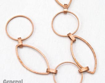 Antique Copper 23mm x 12mm Oval and 14.8mm Round Link Chain #CC235