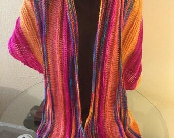 Beautiful Hand Knitted. Spring Shawl made with Handdyed Superwash Merino  and 100% Merino