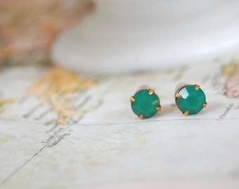 vintage Jadeite Swarovski  small post earrings - pronged brass setting
