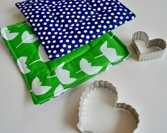 Modern Hot pads - Potholders - Green Blue Hot Pads - Bakers Gift - Cooking Gift - Wedding Gift - Fabric Hot pads