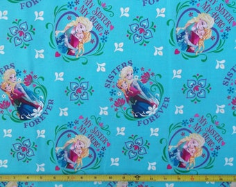 Disney FROZEN Sisters Forever BLUE Cotton Fabric Springs Creative 43/44 Wide BTY