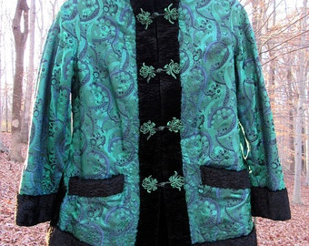 Lovely Vintage Reversible Faux Fur and Damask Paisley Evening Jacket. Size Small or Extra Small