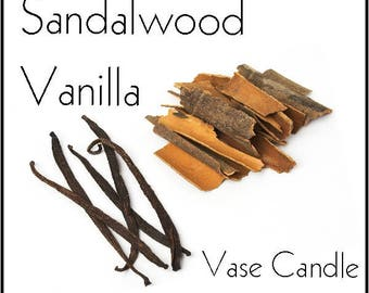Sandalwood Vanilla Vase Candle Refill - Scented, Soy, Paraffin Wax, Paper Core, Self-trimming Wick, Refillable Vase, 50 Hour Burn Time Each