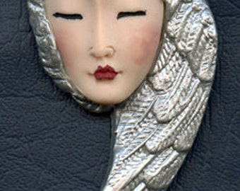 OOAK Polymer Clay Asian  Face with Silver Wings  Art Nouveau    JAWS 1