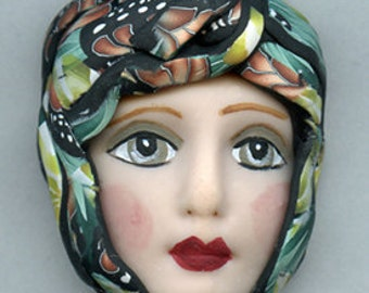 Polymer Clay One of a Kind   Detailed  Art Doll Face with hat Cab  FH 8
