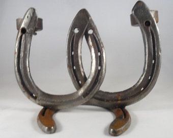 Genuine Horseshoe Candle Holder Tea Light Holder 2 Arm Rustic Decor