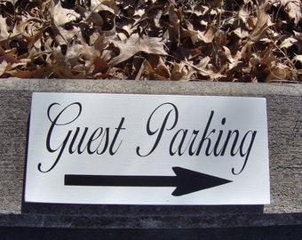Guest Parking Wood Vinyl Sign Cottage Business Office Store Restraunt Direction Arrow Party Event Wedding Custom Left Right Pick Handmade