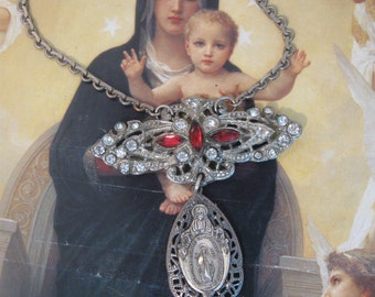 Madonna and Child, vintage paste, sterling silver, religious medal, repurposed vintage, upcycled rhinestone, rosary, Catholic, pot metal