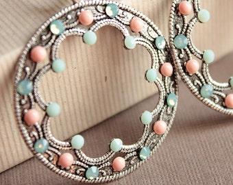 Lita Earrings - Silver - Swarovski Crystals & Pearls - Silver Plated Leverback Earwires