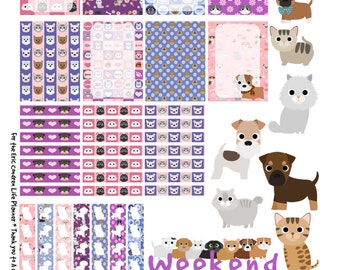 Puppers and Mittens - Printable Planner Stickers for Erin Condren Life Planner