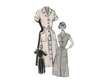 50s Shirtdress Pattern vintage Mail Order Pattern 32-26-35 Fit and Flare Dress pattern Day Dress mail order 2389