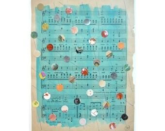 Mixed Media Art,Multicolored Dots, Dot Art, Blue Art, Pattern, Dot Pattern, Antique Sheet Music, Student Music, Teacher Gift, Musician Gift