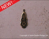 Antiqued Polished Brass Victorian Earring or Pendant Jewelry Drop (item 2810 AG) - 6 Pieces