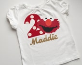 Boutique... ELMO Birthday T-shirt...Sesame street inspired..red and white polka dots...Your child's name in gold and Birthday NUMBER