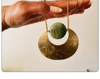 Green Wood Jasper Crescent Moon Gemstone pendant Necklace - Statement Necklace - green stone Necklace - brass chain choker - Long crystal