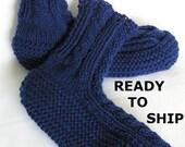 Navy Blue Slippers Mens Knitted Slippersocks, Mens 12 - 13 Handknitted