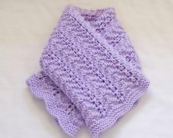 Lavender and Lilac Baby Blanket, Knitted Light Purple Lap Afghan, Newborn Size
