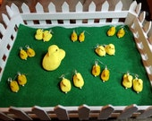 "Yellow ""Marshmallow"" Chick Earrings with Sterling French Hook Ear Wires - Peeps Inspired"