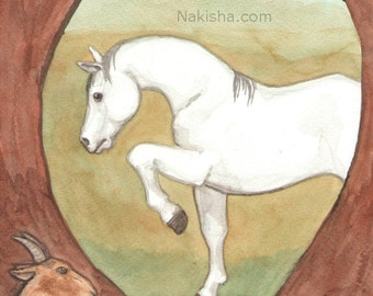 Original Art - The World - Watercolor Horse Painting - Art from The Riderless Tarot