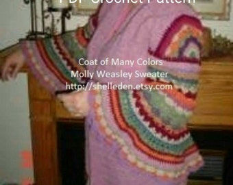 PDF Coat of Many Colors (Molly Weasley Sweater) Crochet Pattern for complete sweater ALL Crochet