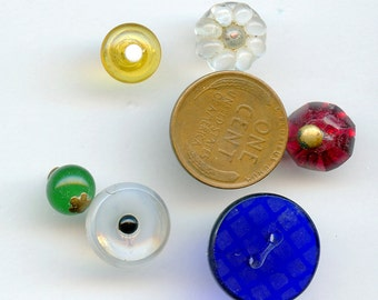 Victorian Buttons Glass (6) DIFFERENT COLORS  Vintage Various Shapes and Sizes Lot Antique 3018
