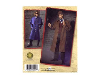 Mens Sherlock Holmes Coat and Hat Costume Simplicity 2517 Sewing Pattern Chest 38 - 40 - 42 - 44 Uncut