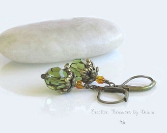 Brass Earrings Olive Green Swarovski Crystals Victorian Style Earrings Victorian Jewelry Edwardian Jewelry Gift For Her Fall Jewelry