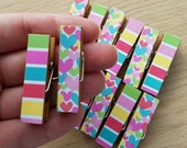 Baby Girl Shower Clothesline Gift - Colorful Hearts and Bold Stripes - Chunky Little Clothespin Clips w Twine - Set of 12 - Girl Baby Shower