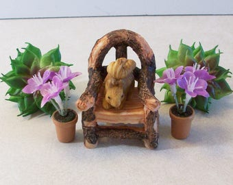 Wood look chair, flowers and squirrel miniatures fairy garden, gnome or terrariums