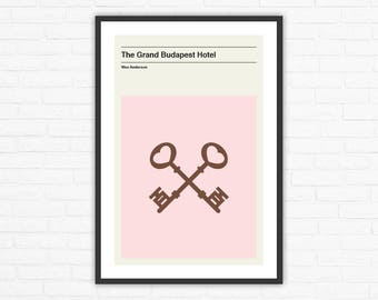 Wes Anderson, The Grand Budapest Hotel Keys Minimalist Movie Poster